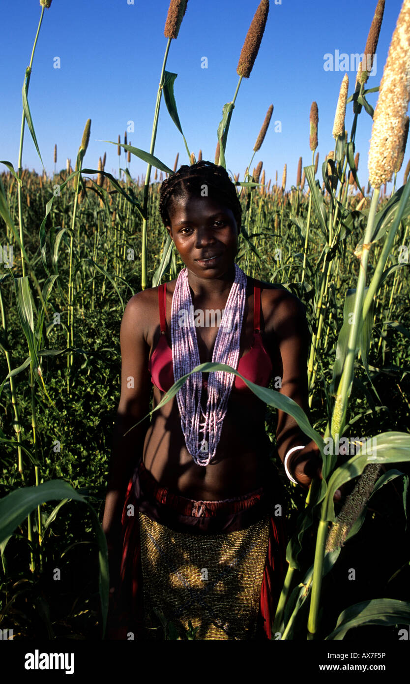 Owambo woman in traditional dress in a millet mahango field Omusati region Namibia - Stock Image