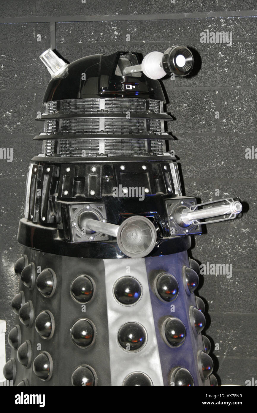 Dalek in Dr Who Exhibition Red Dragon Centre Cardiff - Stock Image
