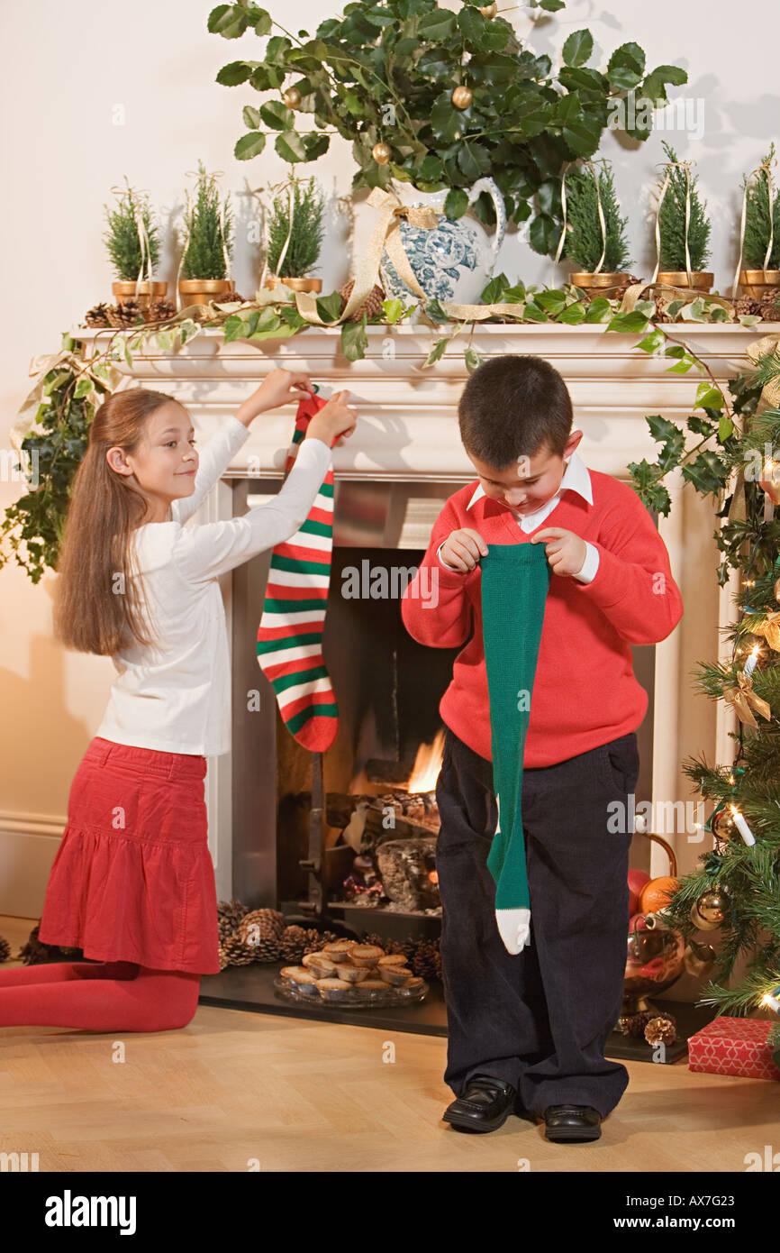 Children with christmas stockings Stock Photo: 5469218 - Alamy