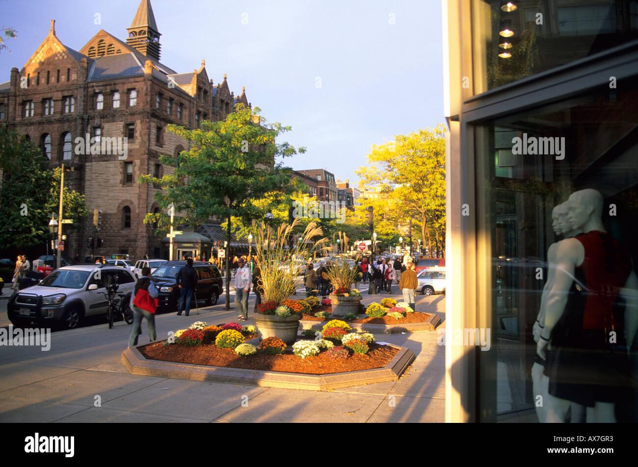 Shopping mile Newbury Street, Boston, Massachussetts United States, USA - Stock Image