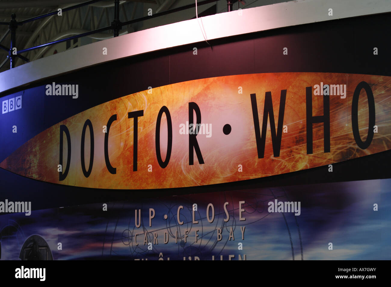 Sign outside Dr Who Exhibition Red Dragon Centre Cardiff - Stock Image