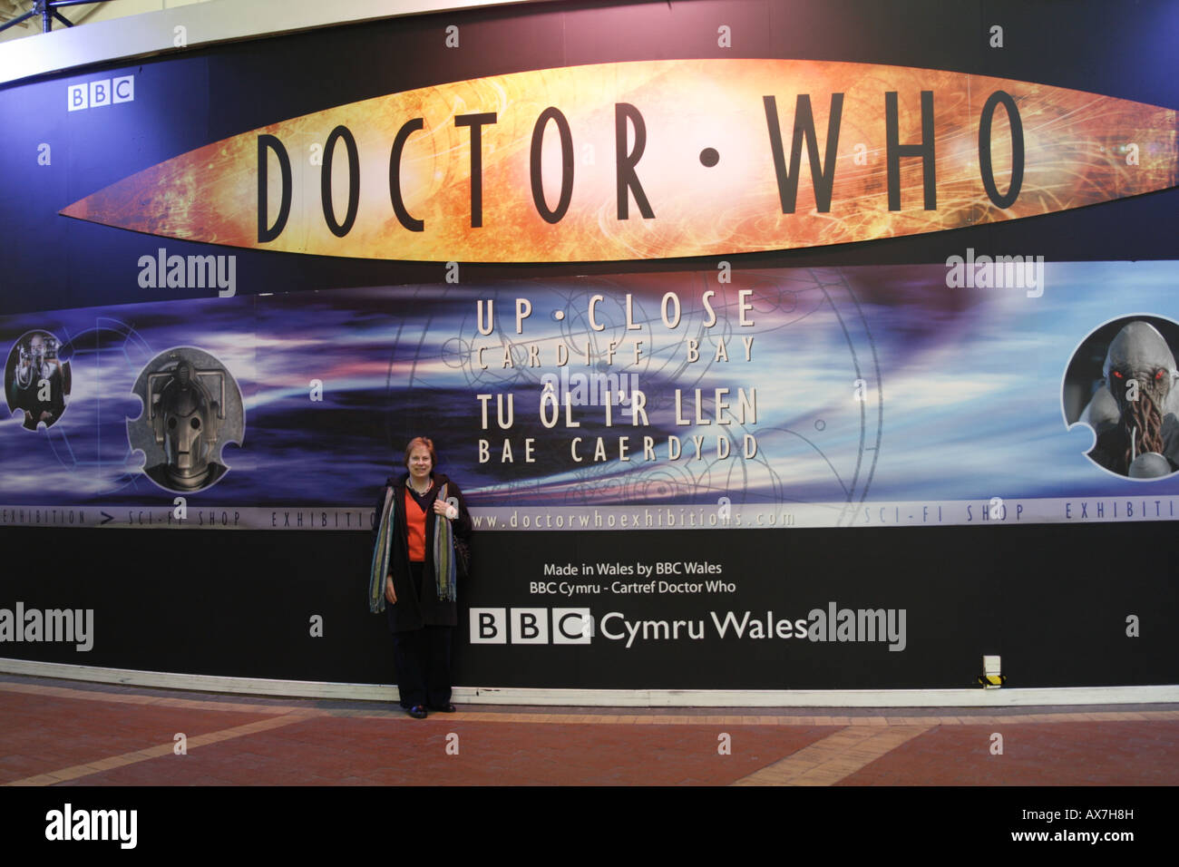 Female Tourist at Dr Who Exhibition Red Dragon Centre Cardiff - Stock Image