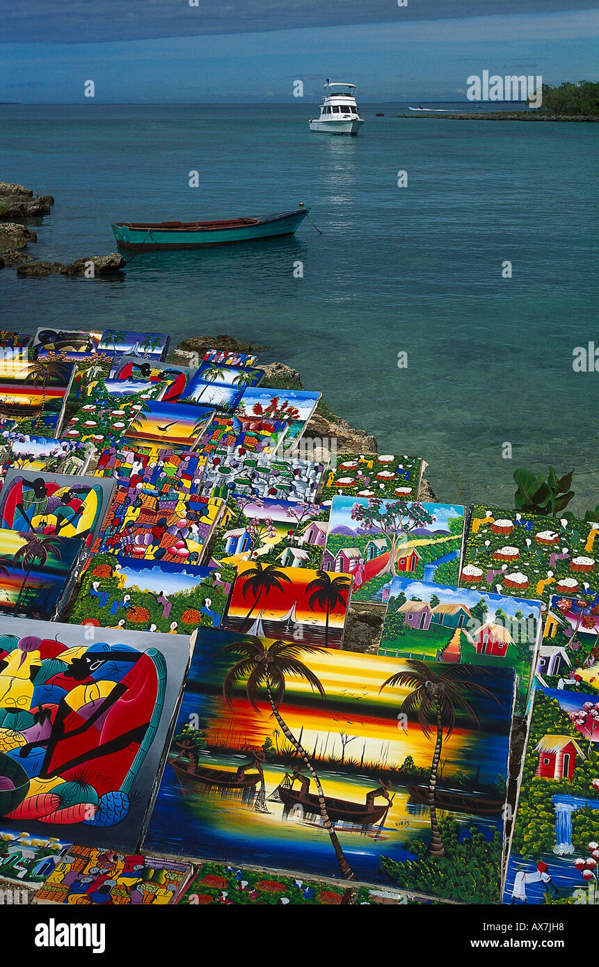 Naive Bilder, Verkauf am Strand, Bayahibe Dominikanische Republik - Stock Image