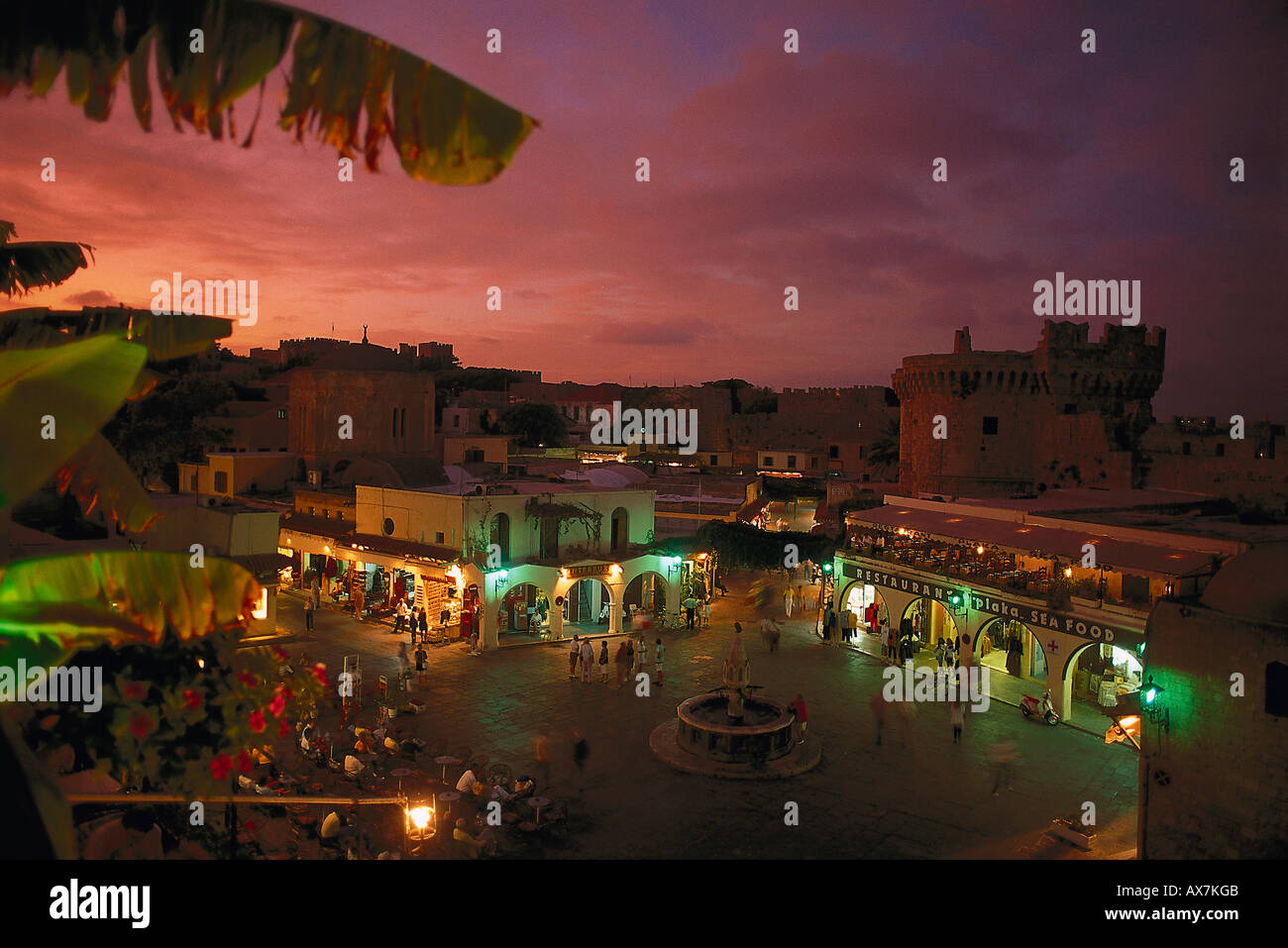 Hippokrates Square, Rhodos City, Greece - Stock Image