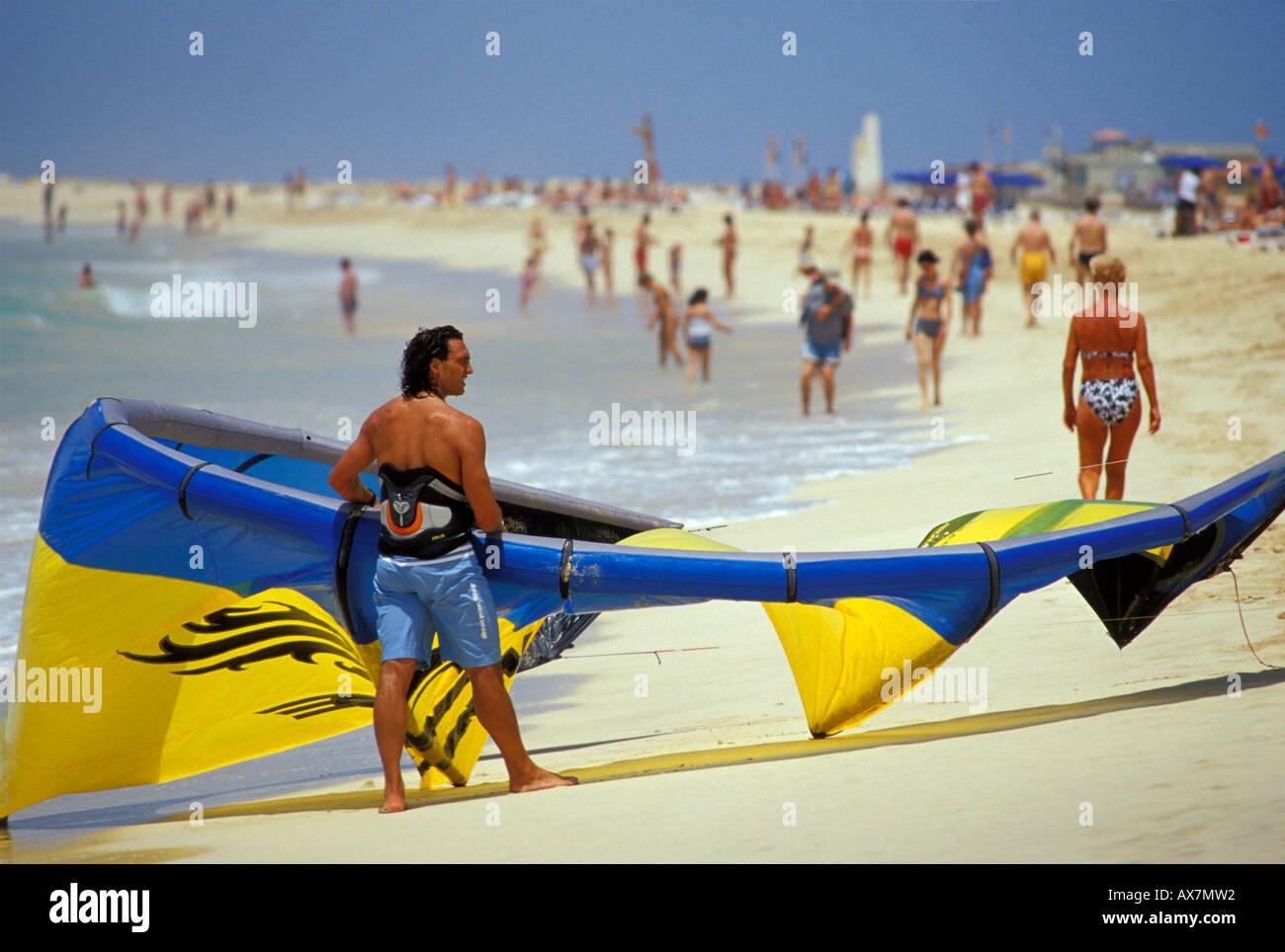 Kite on crowded beach of Santa Maria, Sal, Cape Verde Islands, Africa Stock Photo