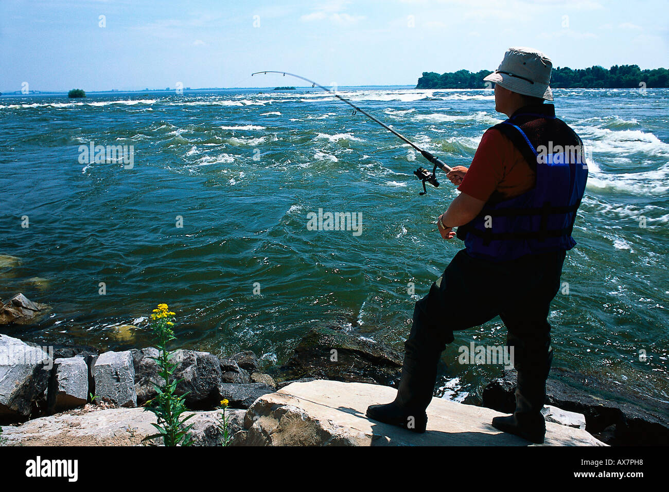 Fishing, Recreation, St. Lawrence River Prov. Quebec, Canada - Stock Image