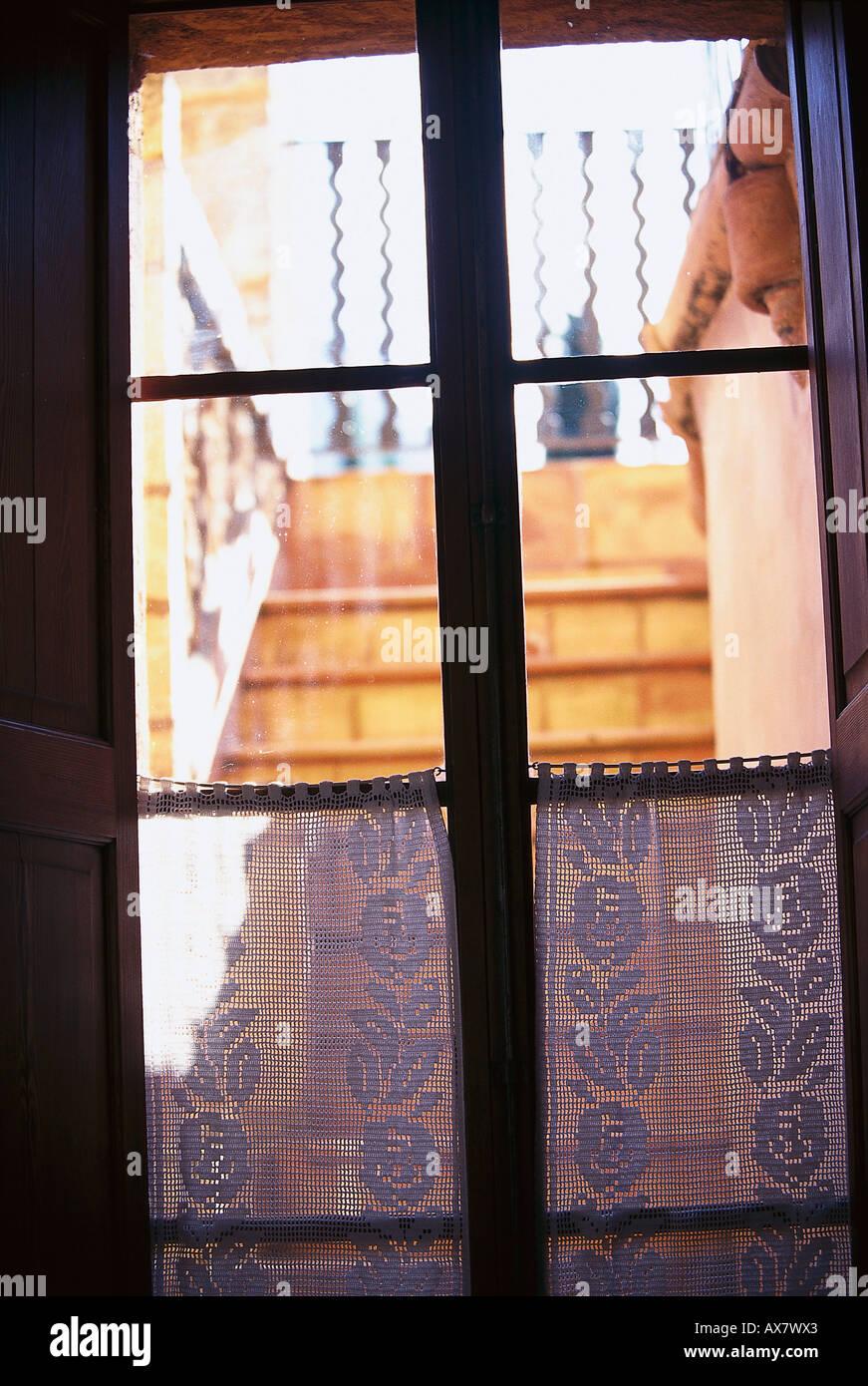 Blick aus dem Fenster, Finca-Hotel de Reis, Soller Mallorca, Spanien Stock Photo