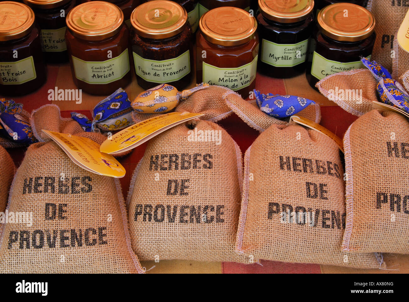 Provencal herbs on market stall in Nice market, Provence, France Stock Photo
