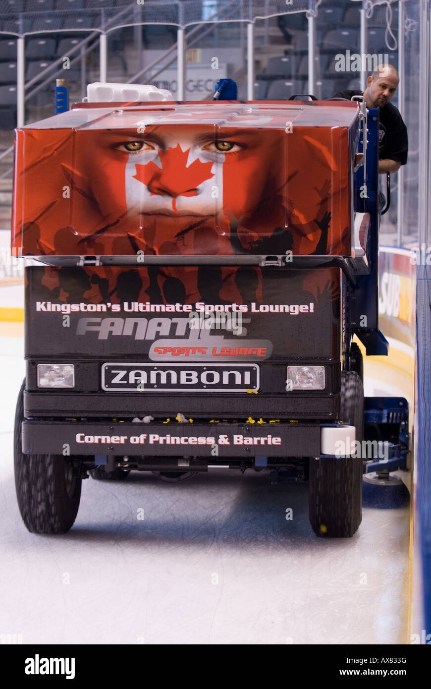A zamboni driver makes a pass along the boards at the K Rock Centre in downtown Kingston Feb 25th 2008 - Stock Image