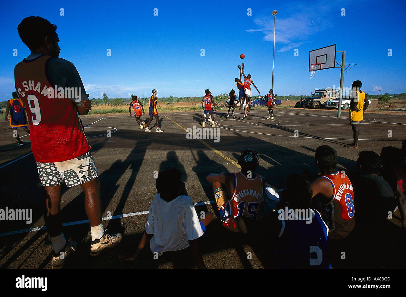 Basketball, Aboriginal Communities, Fitzroy Crossing, Highway 1 Australia - Stock Image