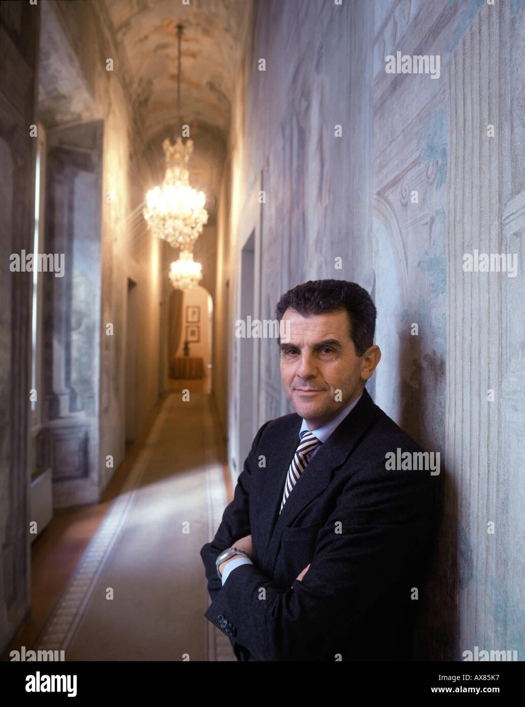 Feruccio Ferragamo, son of Salvatore, CEO, internat. fashion label, Palazzo Spini, Florence, Italy - Stock Image