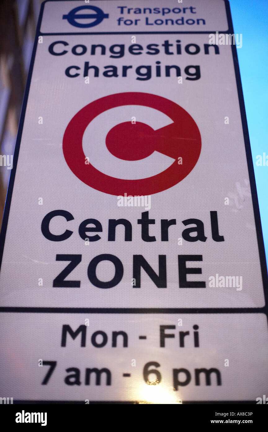 London Congestion Charge road sign - Stock Image
