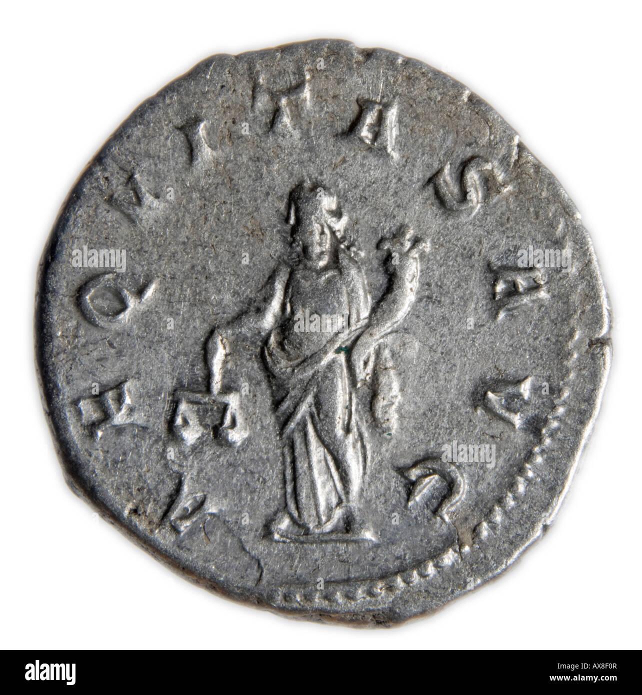Silver Roman Coin. Antonianus of Gordian III -  Reverse: Aequitas holding Scales and Cornucopia - Stock Image