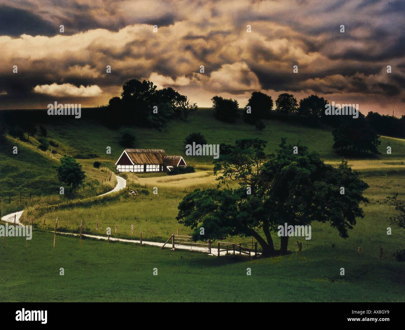 Henning Mankell, Moerder ohne Gesicht, Bauernhof bei Torup Skane, Schweden - Stock Image