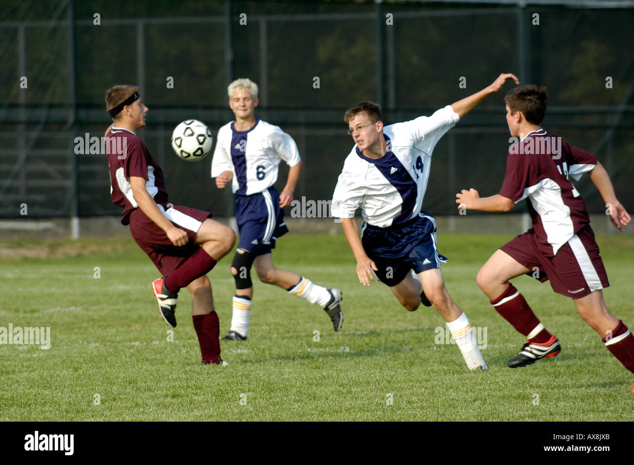 High School American Soccer action - Stock Image