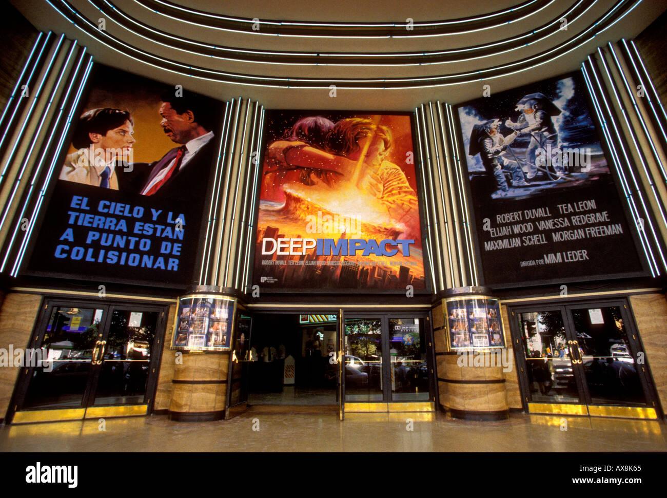 Spanish language film, movie schedule, multiplex movie theater, multiplex, movie theaters, Gran Via, Madrid, Madrid Province, Spain - Stock Image