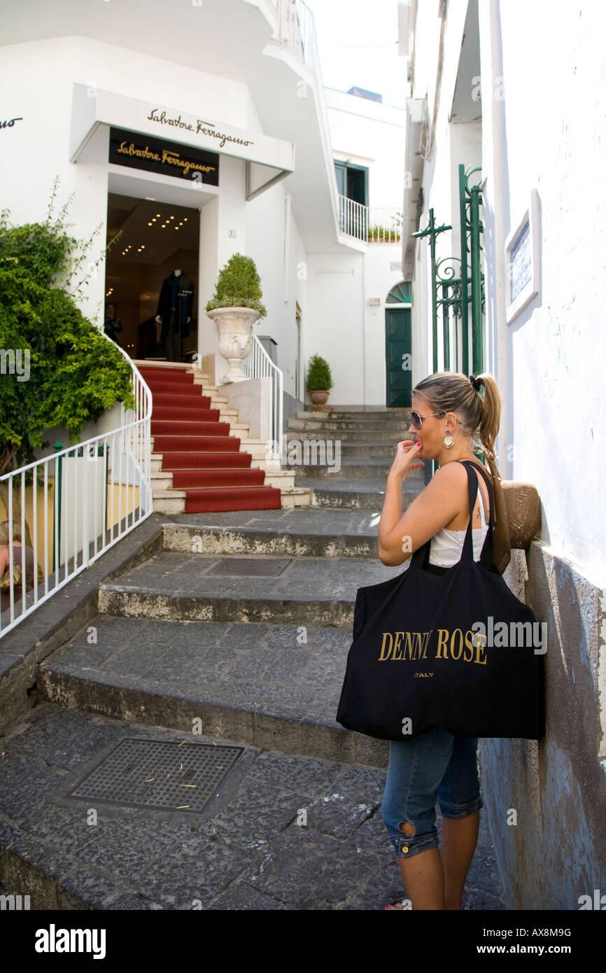 Salvatore Ferragamo upmarket shop capri town Capri Italy - Stock Image