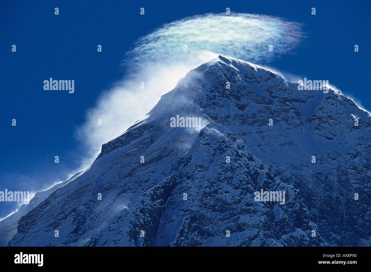 Mount Everest summit, 8.848 m, Solu Khumbu, Nepal, Himalaya - Stock Image