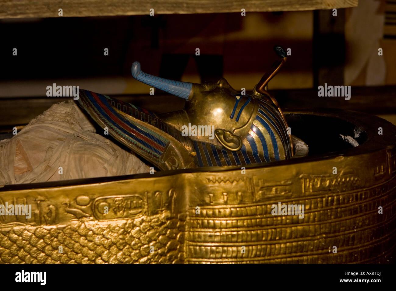 King Tut Sarcophagus Replica at Busch Gardens Florida USA - Stock Image