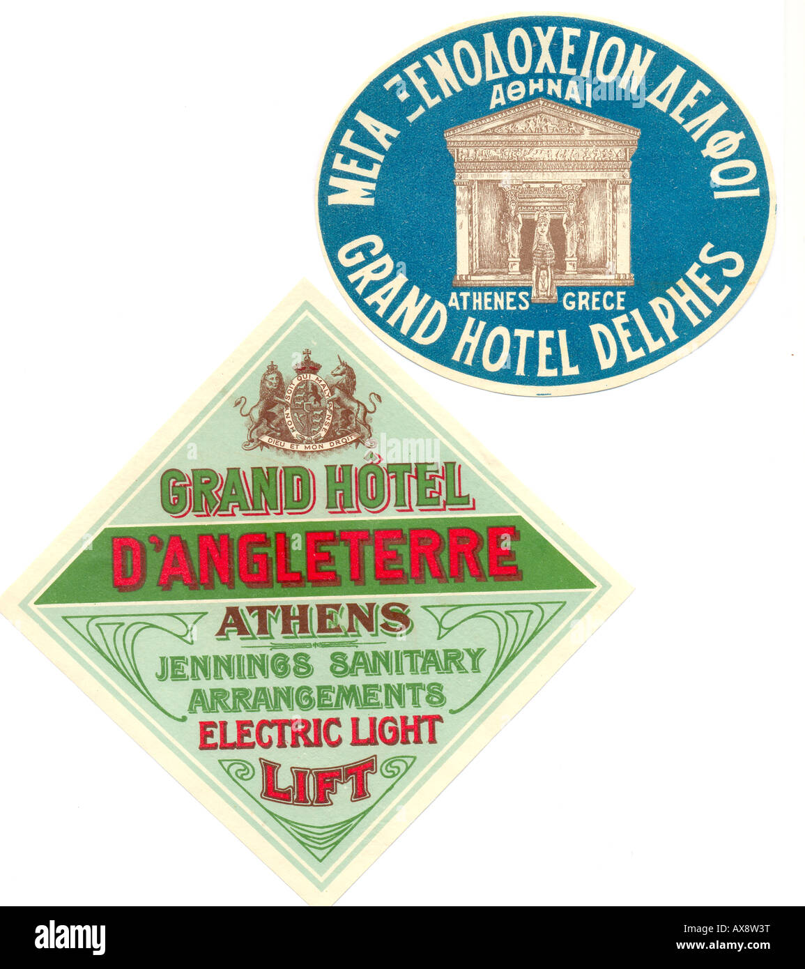 Greek hotel luggage labels 1920s - Stock Image