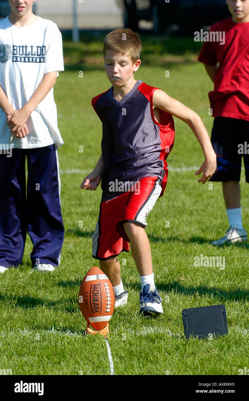 Punt pass and kick competition held for boy or girls 12 years of age and under - Stock Image