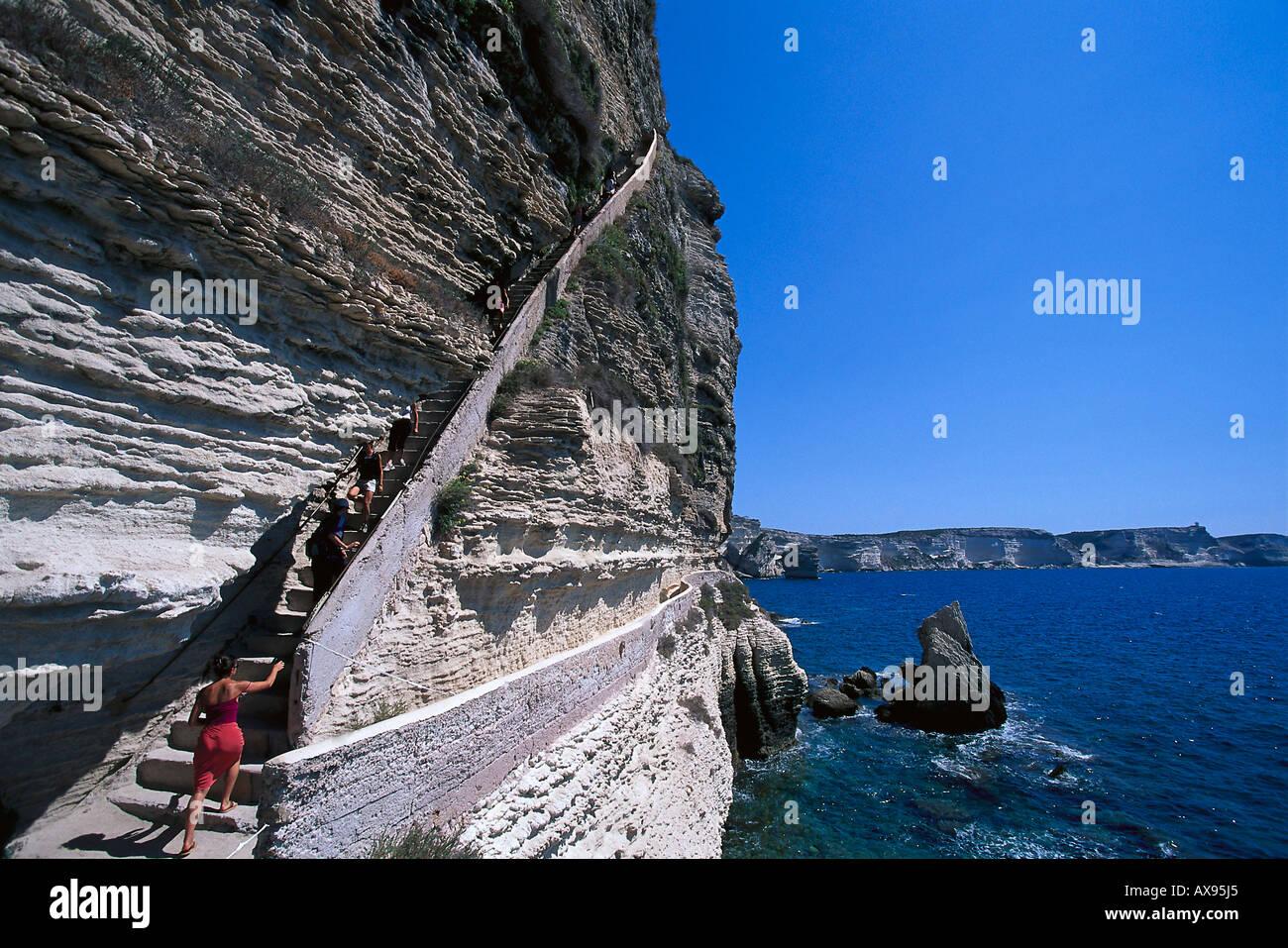 Escalier du Roi d´Aragon, Bonifacio, staircase in the cliffs of Bonifacio Corsica, France - Stock Image