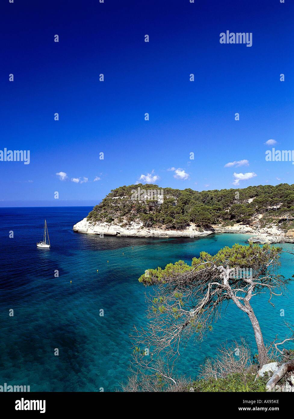 Coastal landscape Cala Mitjana near Cala Galdana, Minorca, Spain - Stock Image