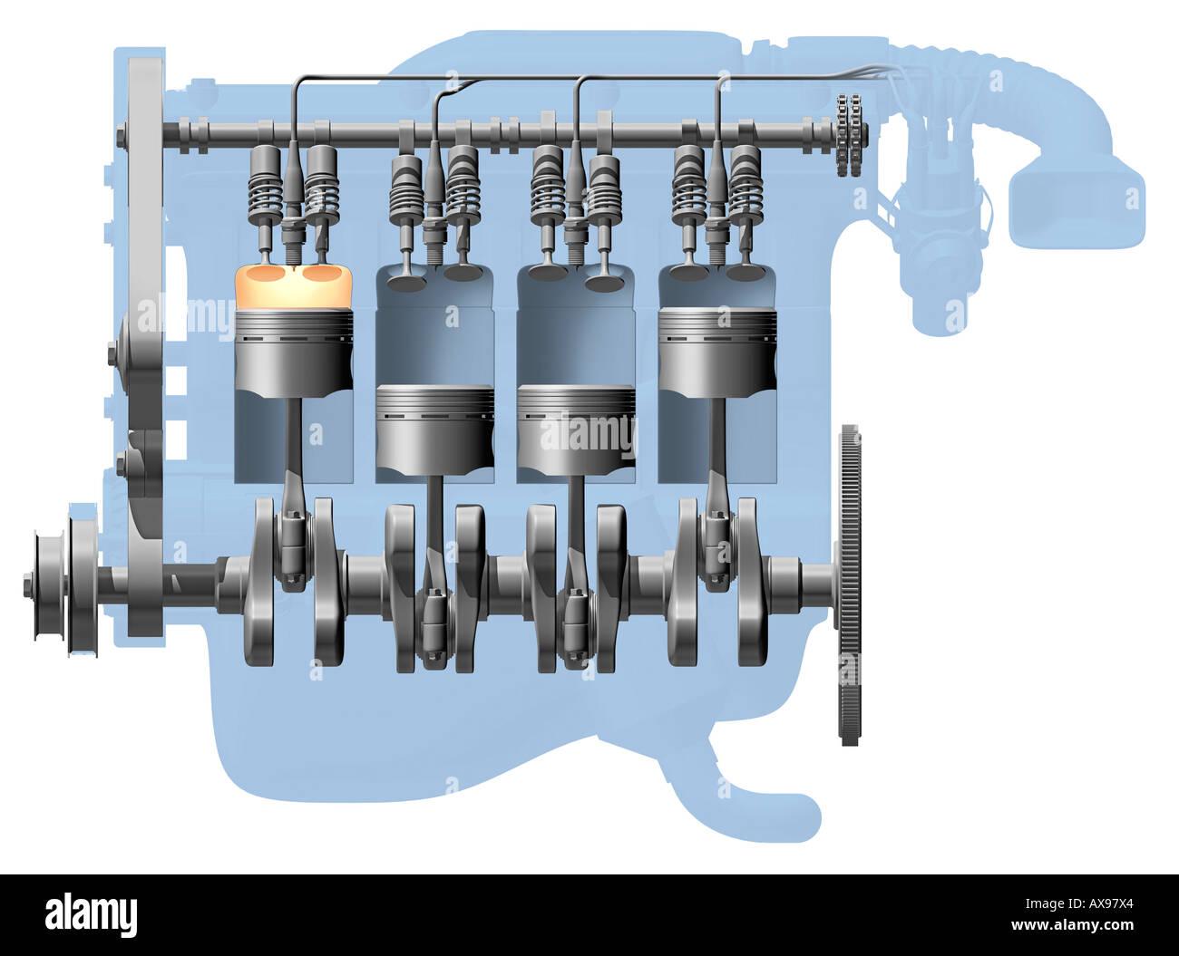 engine cutaway stock photos engine cutaway stock images alamy rh alamy com four cycle engine cutaway diagram Car Engine Diagram