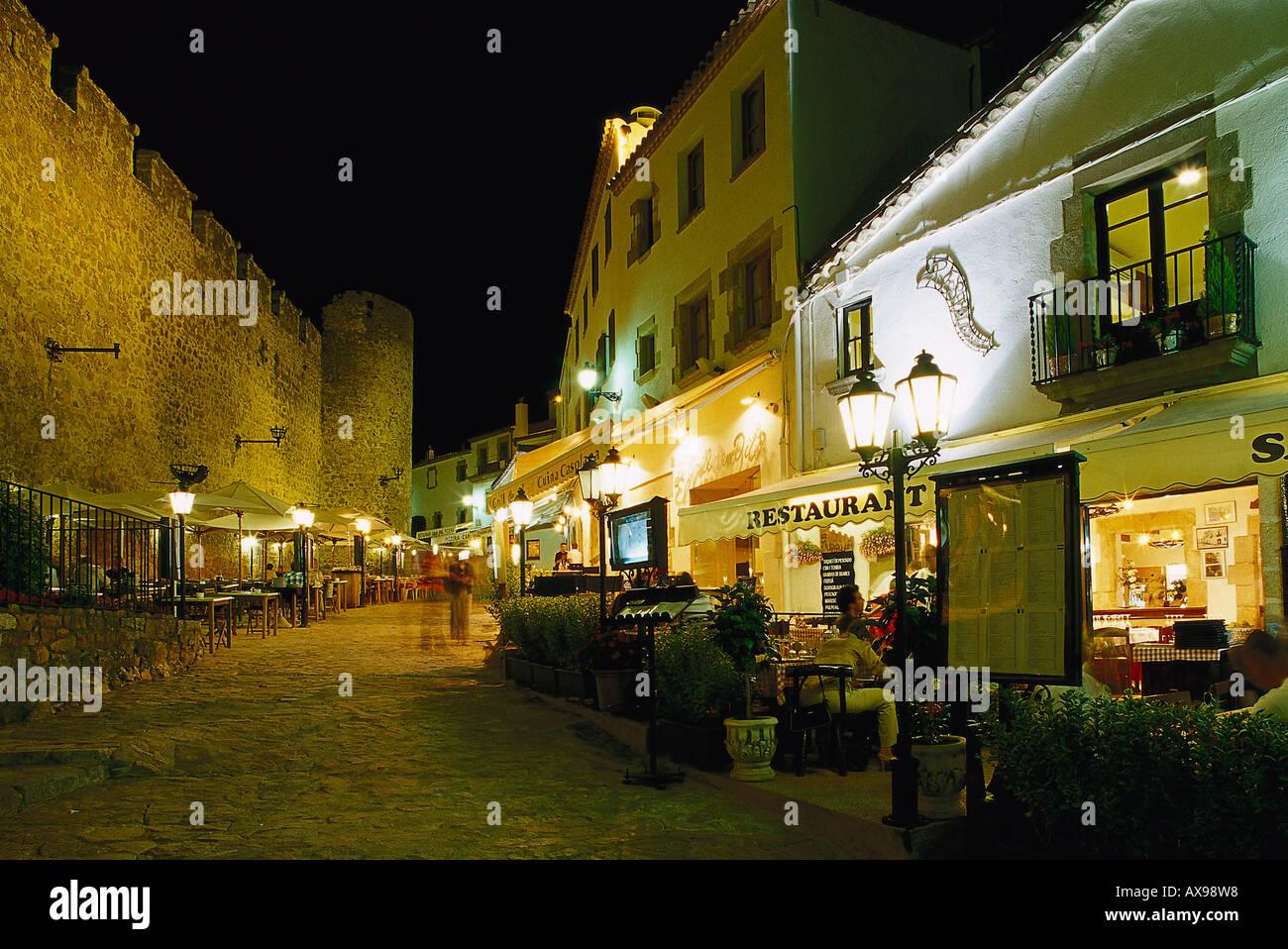 Restaurant Sa Muralla, medieval city wall, Tossa de Mar, Province of Girona, Costa Brava, Catalonia, Spain - Stock Image