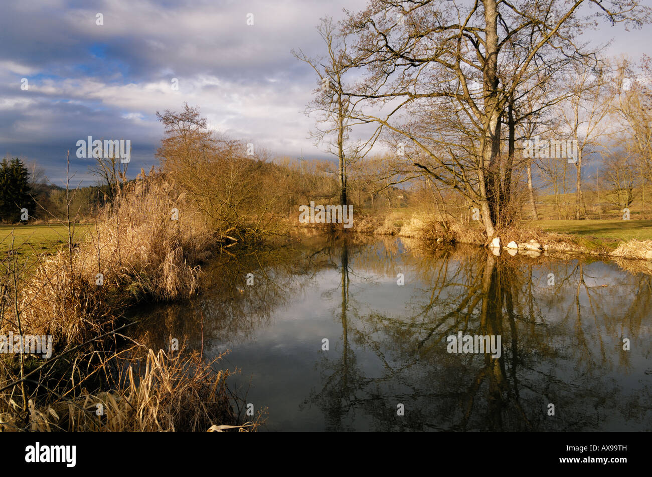 Creek called Schmutter at the Gailenbacher Muehle Augsburg Bavaria Germany - Stock Image