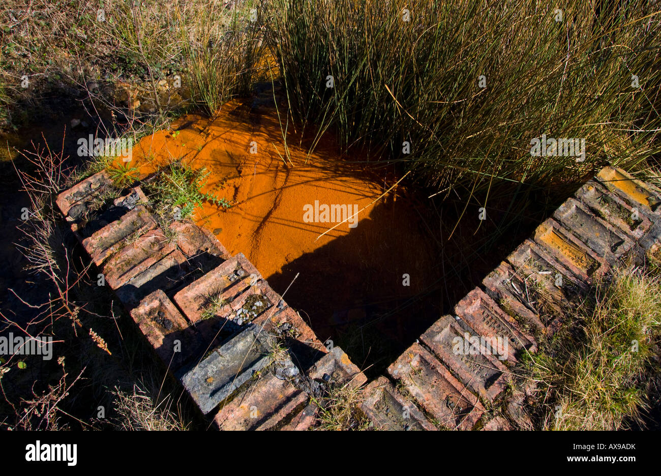Polluted mine water from the former Blaenserchan Colliery near Pontypool South Wales UK EU - Stock Image