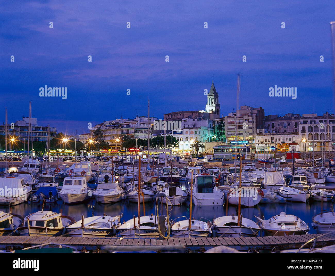 Townscape with marina, harbour, Palamós, Costa Brava, Province of Girona, Catalonia, Spain - Stock Image