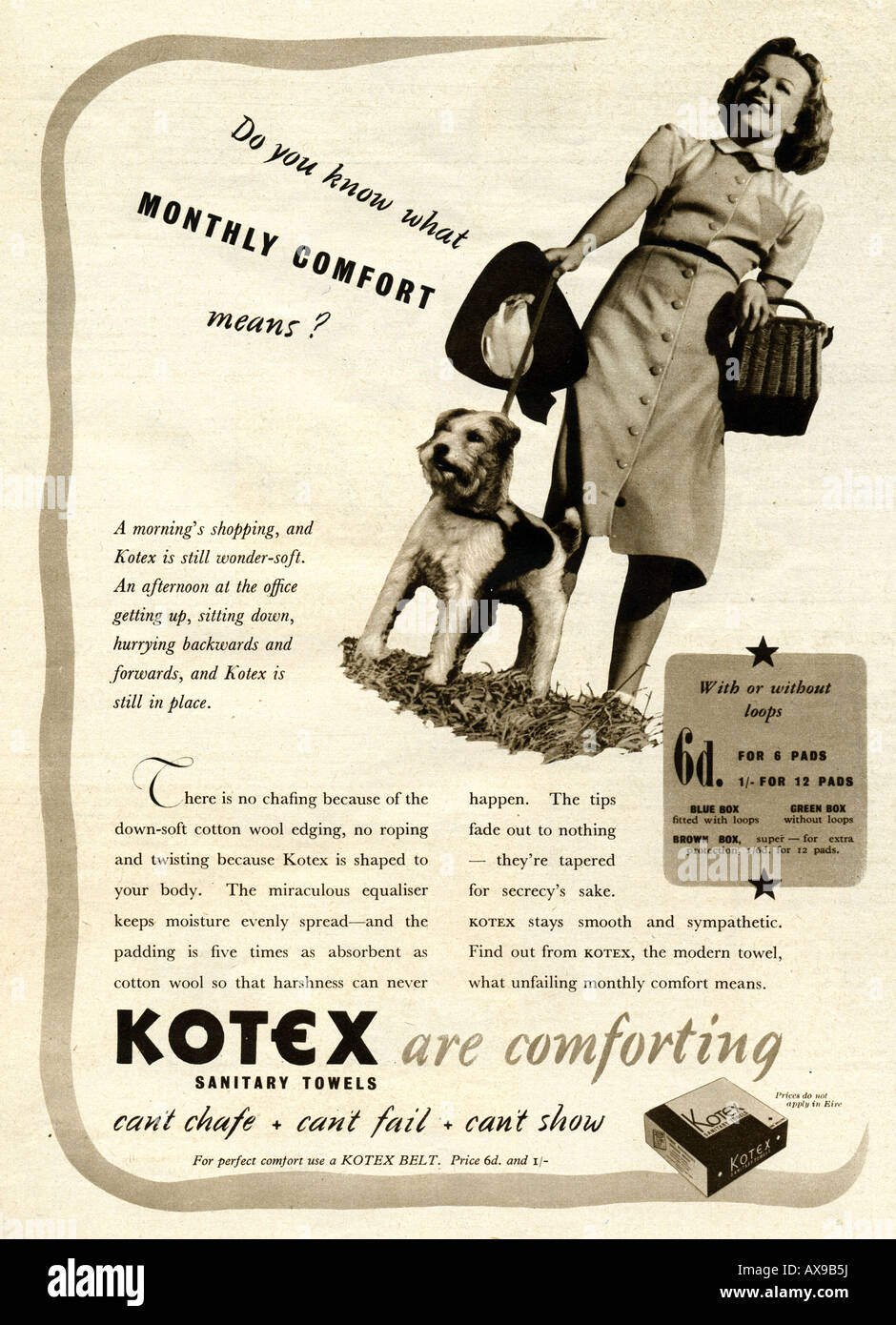 Kotex Sanitary Towels Advertisement 1930s from Screen Pictorial Summer Annual 1939 FOR EDITORIAL USE ONLY - Stock Image