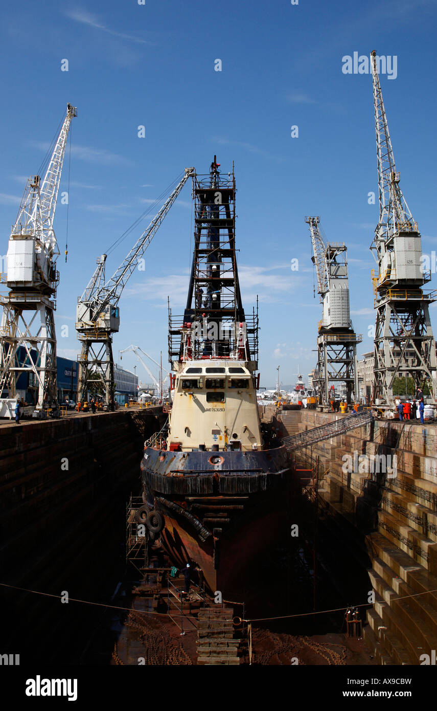 ship being repaired in the robinson dry dock v&a waterfront cape town western cape province south africa Stock Photo
