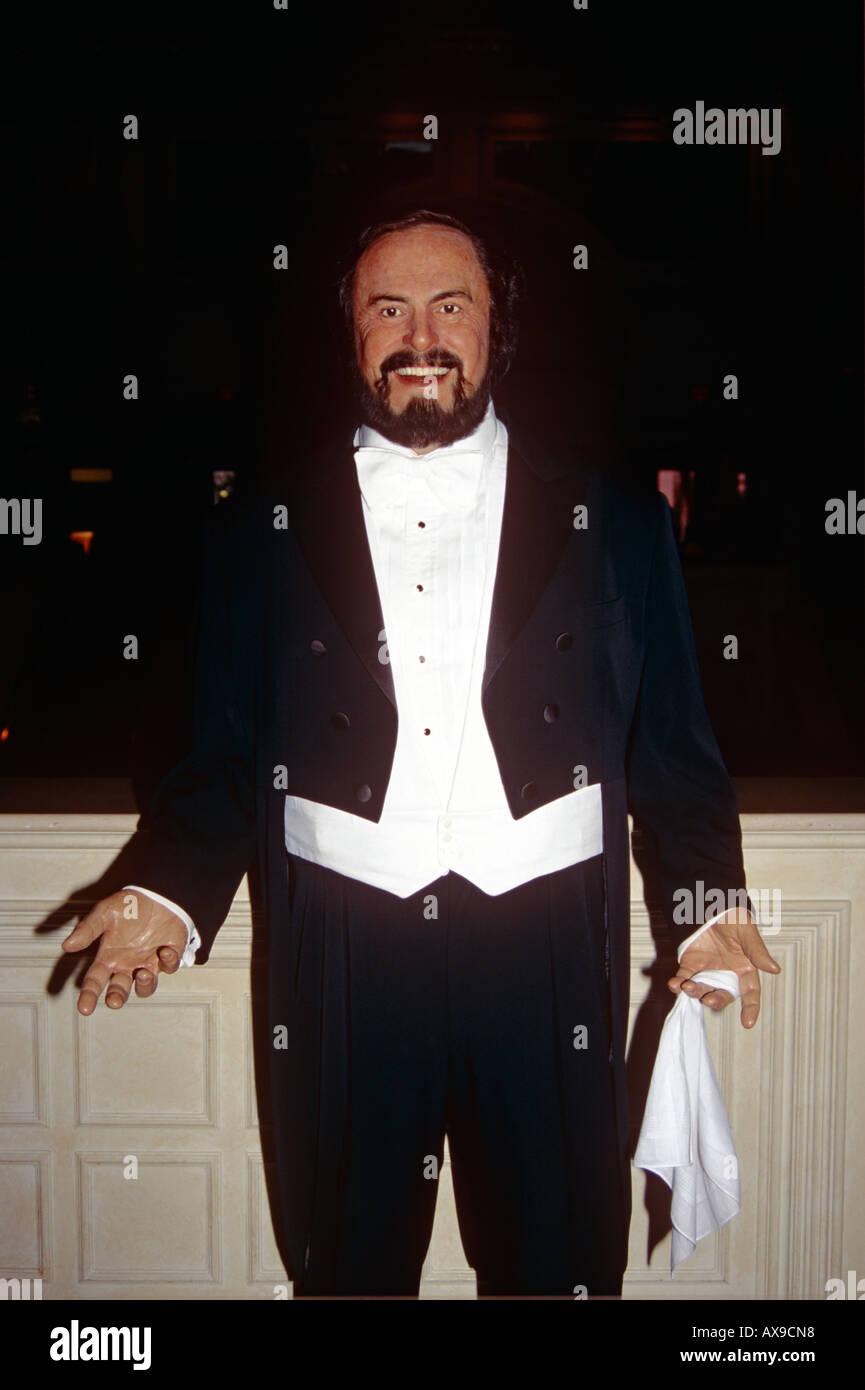 Waxwork model of Luciano Pavarotti in Madame Tussauds, The Venetian Hotel and Casino, Las Vegas, Nevada, USA - Stock Image
