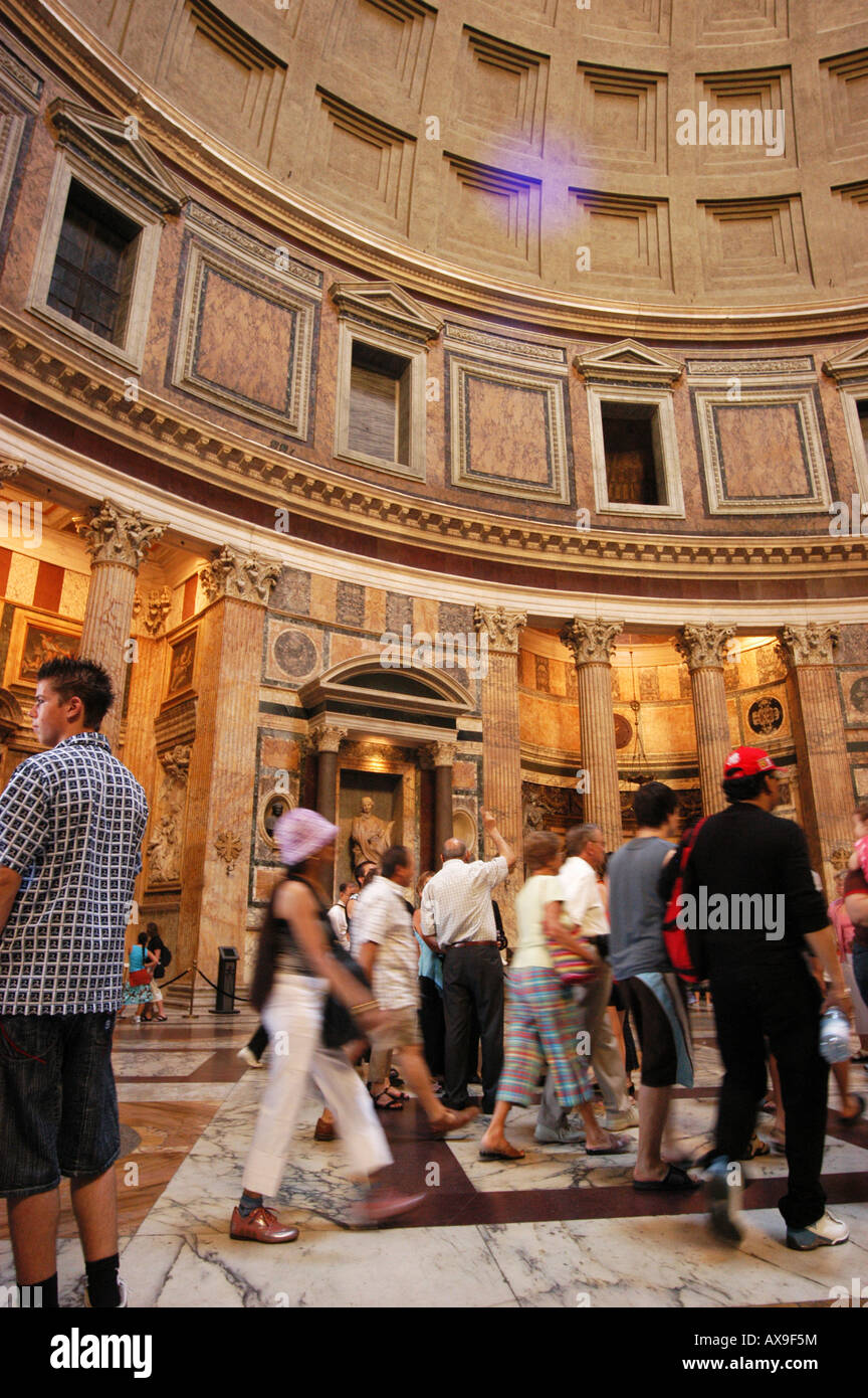 Coffered dome Interior of Pantheon Rome Roma Lazio Italy - Stock Image