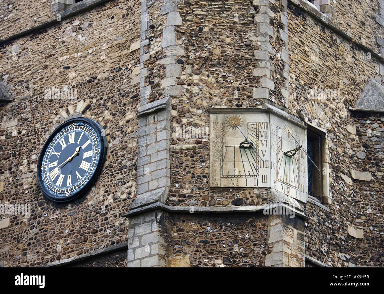ST BOTOLPH'S CHURCH, in Trumpington Street. sundial. Cambridge. Cambridgeshire. East Anglia. UK. - Stock Image