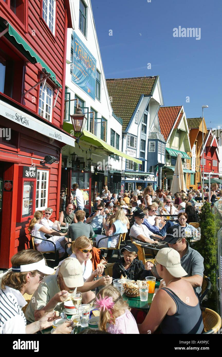 People dining in a restaurant, Restaurant Skagen, Stavanger, Rogaland, Norway Stock Photo
