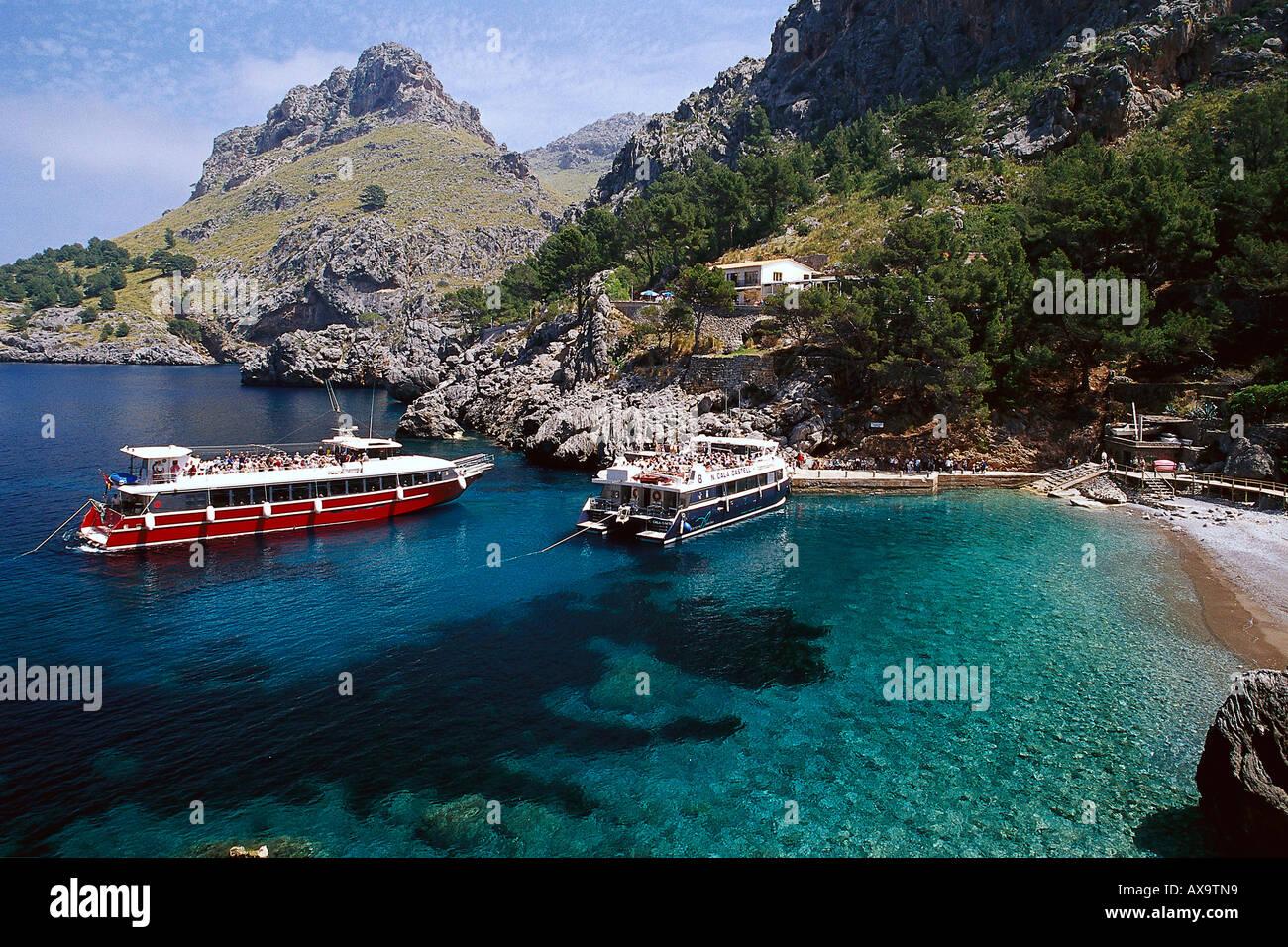 Boat Trip, Torrent de Pareis, Cala de Sa Calobra Majorca, Spain - Stock Image