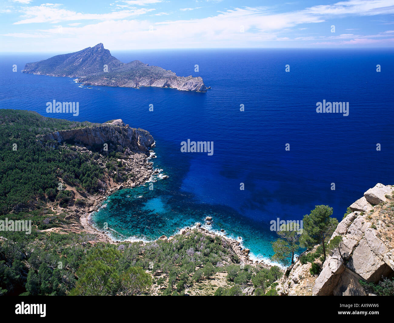 Hiking Sa Trapa, Cala Basset, Isla Dragonera near Sant Telm Majorca, Spain - Stock Image