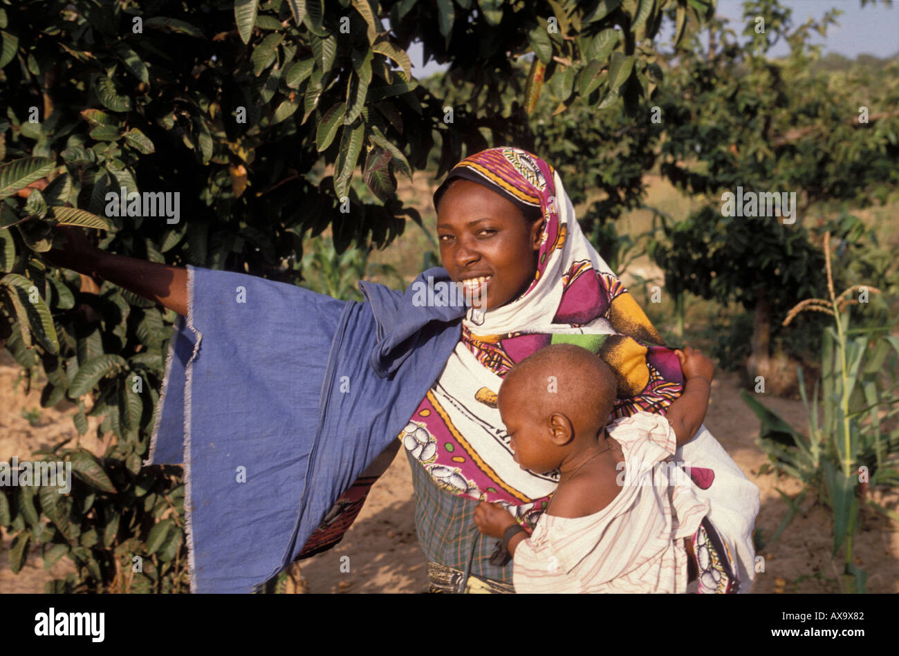 Mother with child under a guava (mapera in Kiswahili) fruit tree in Tanzania Stock Photo