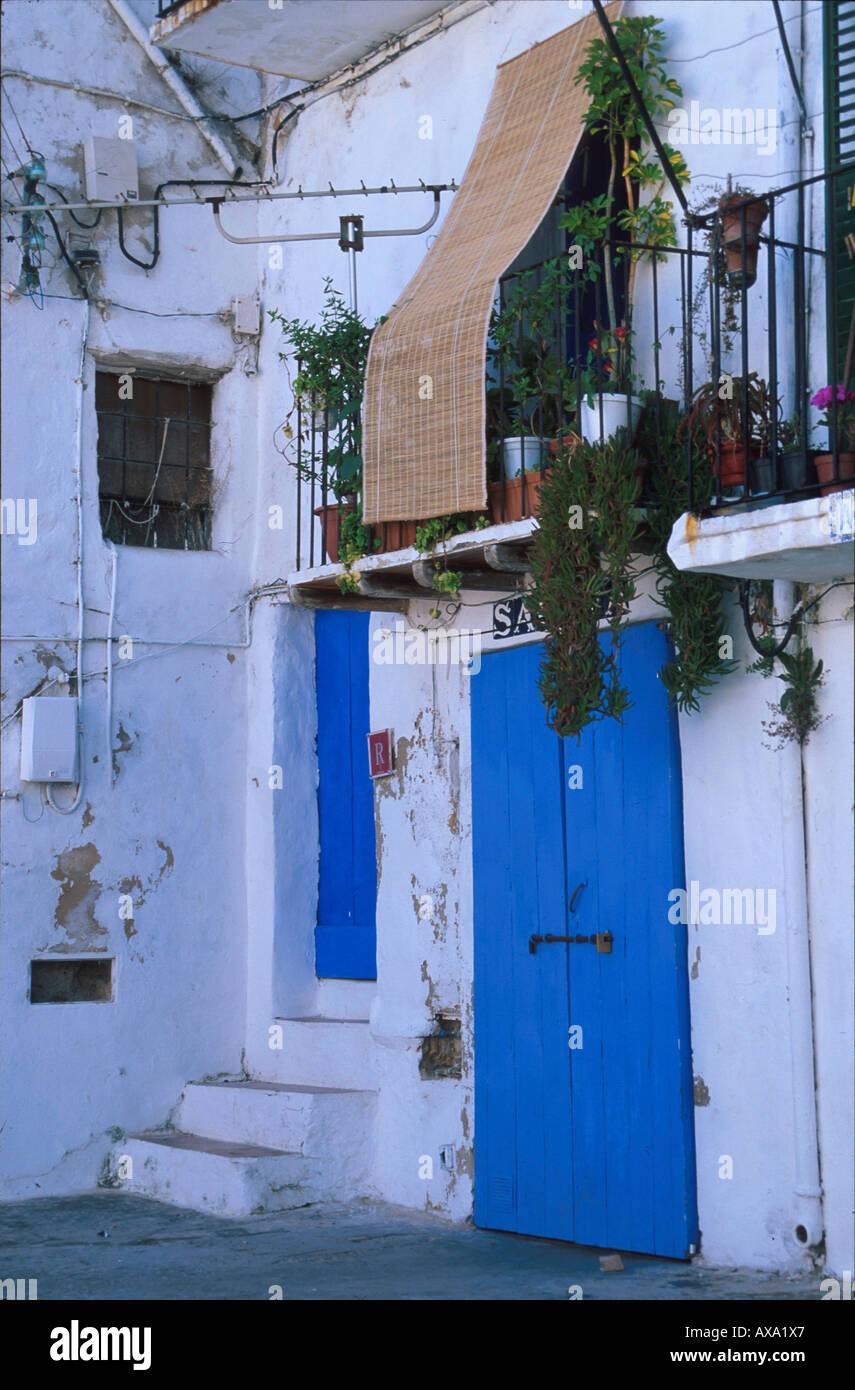 Fassade, Stadtteil Sa Penya, Ibiza-Stadt, Ibiza Balearen, Spanien - Stock Image