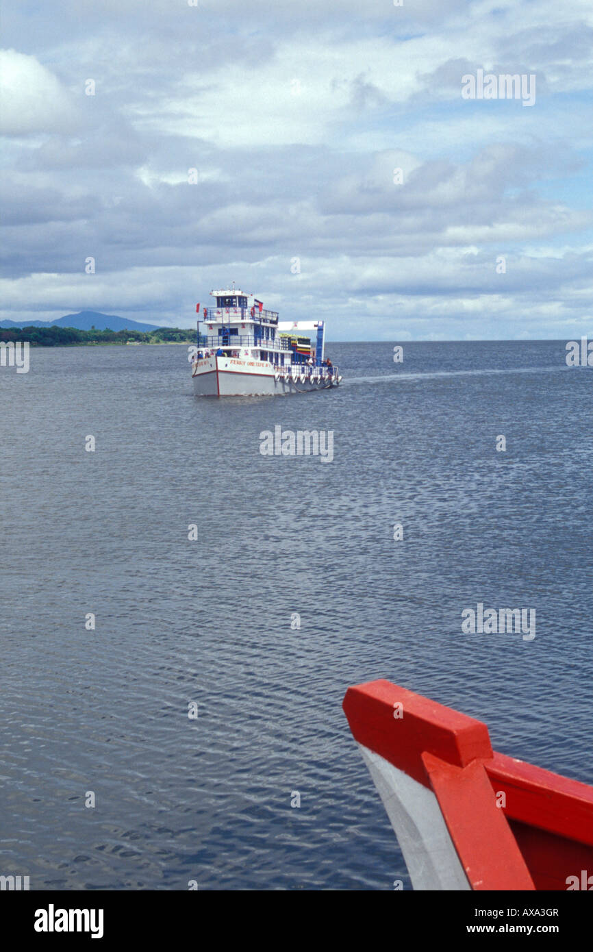 The passenger and vehicle ferry that runs between San Jorge and Moyogalpa on Isla de Ometepe  or Ometepe Island, Stock Photo