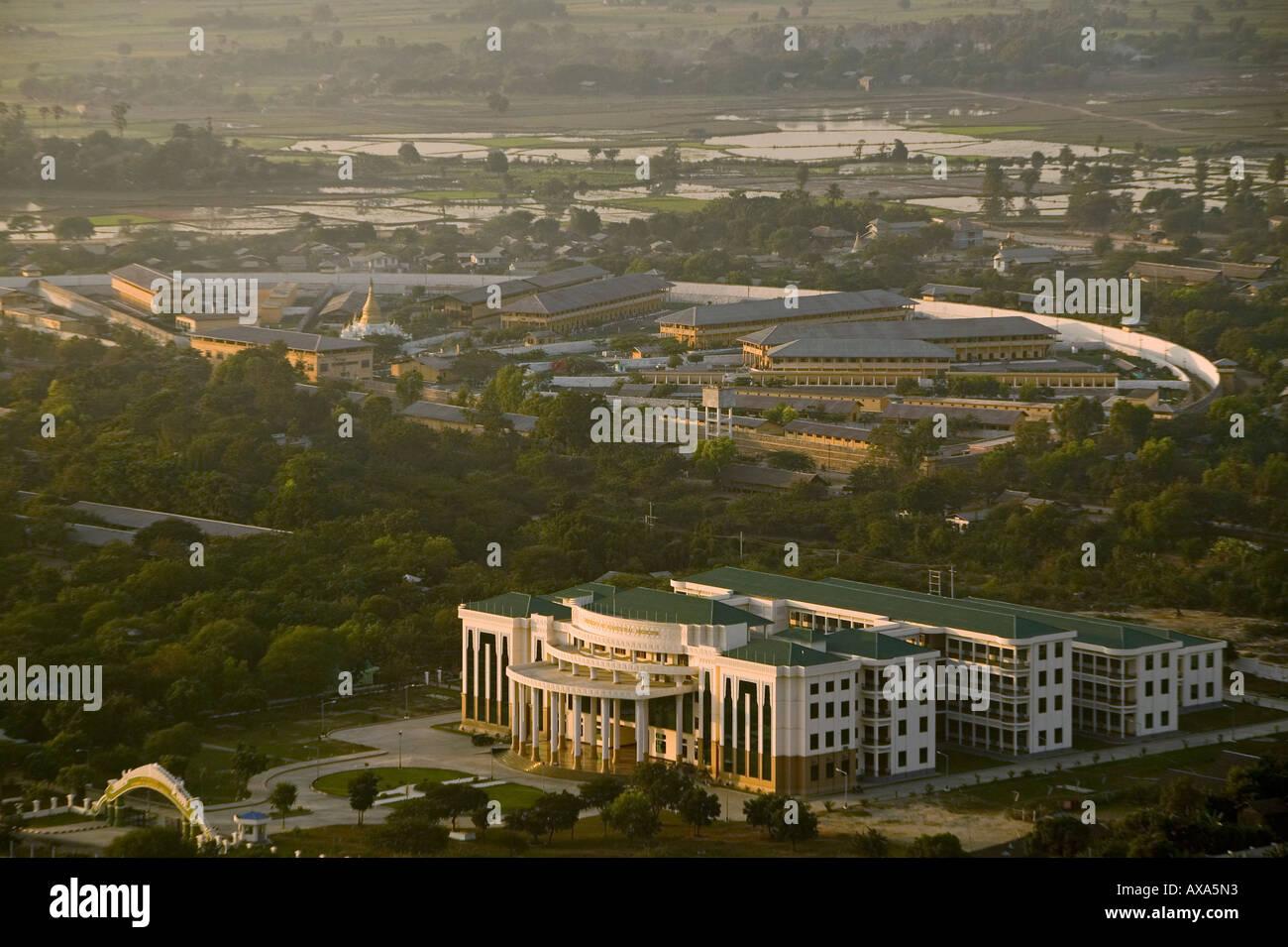 View of prison, from Mandalay Hill, Gefaengniss von Mandalay im Hintergrund, Aussicht von Mandalay Hill Stock Photo