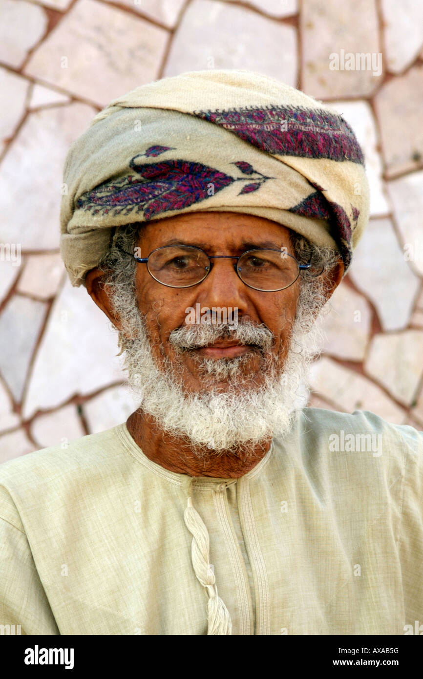 Potrait of an Omani man in Muscat, the capital of the Sultanate of Oman. - Stock Image