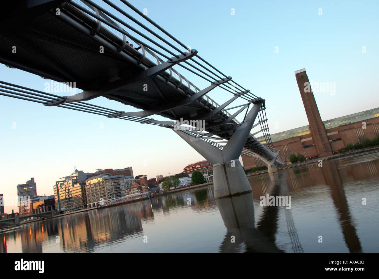 The St Pauls Millennium Bridge in London England - Stock Image