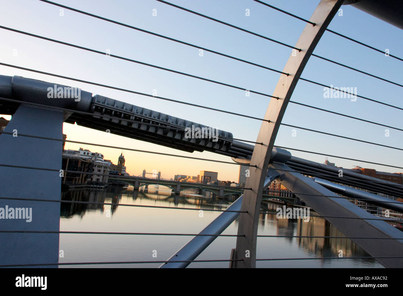 The St Pauls Millennium Bridge in London England Stock Photo