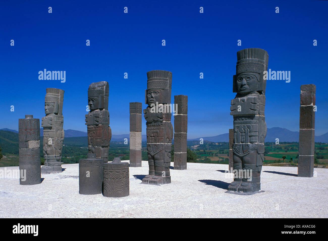 Tula, Atlanten auf der Pyramide B, Hidalgo Mexico - Stock Image