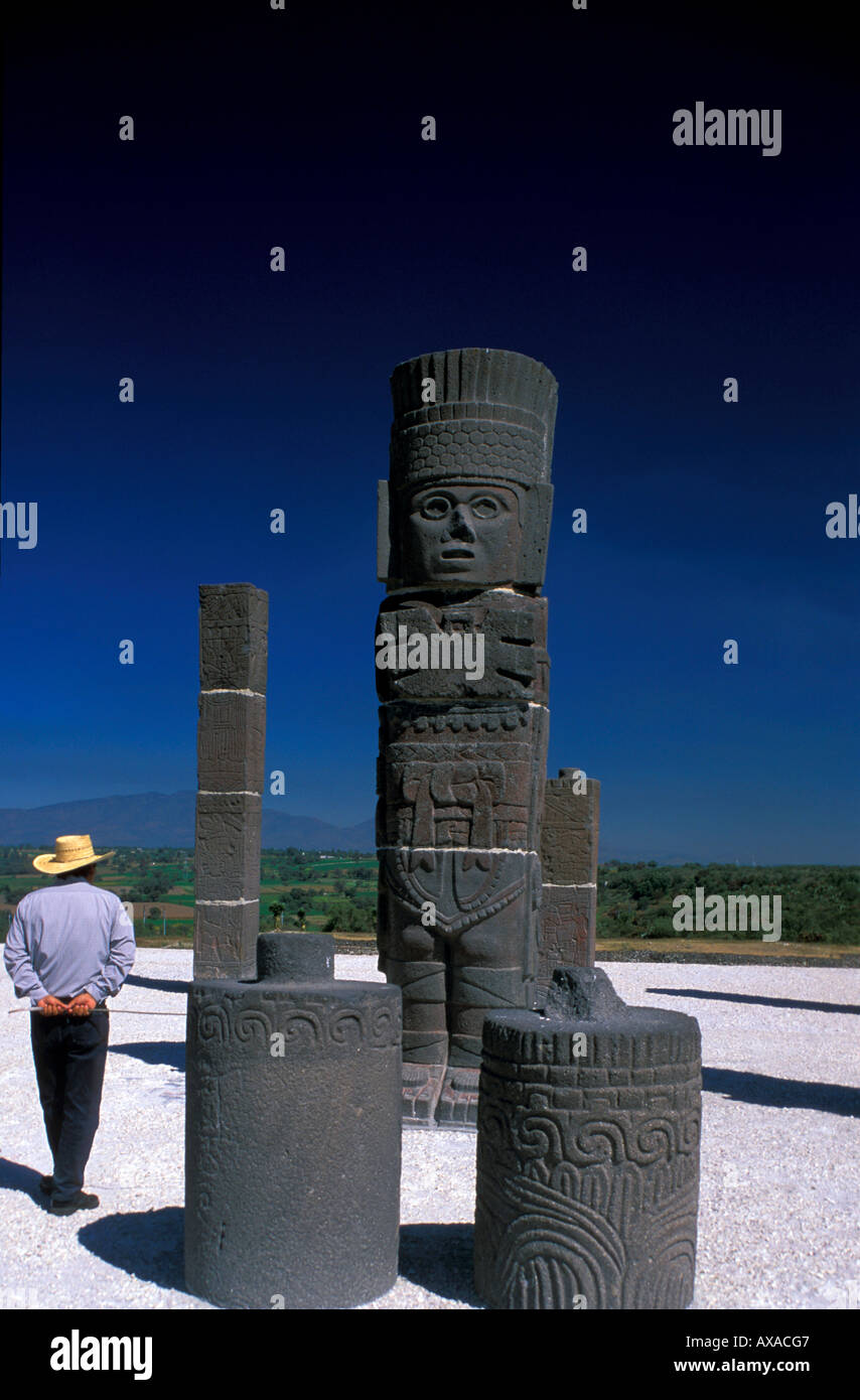 Tula, Atlanten auf der Pyramide B, Hidalgo MexicoKriegerdenk - Stock Image