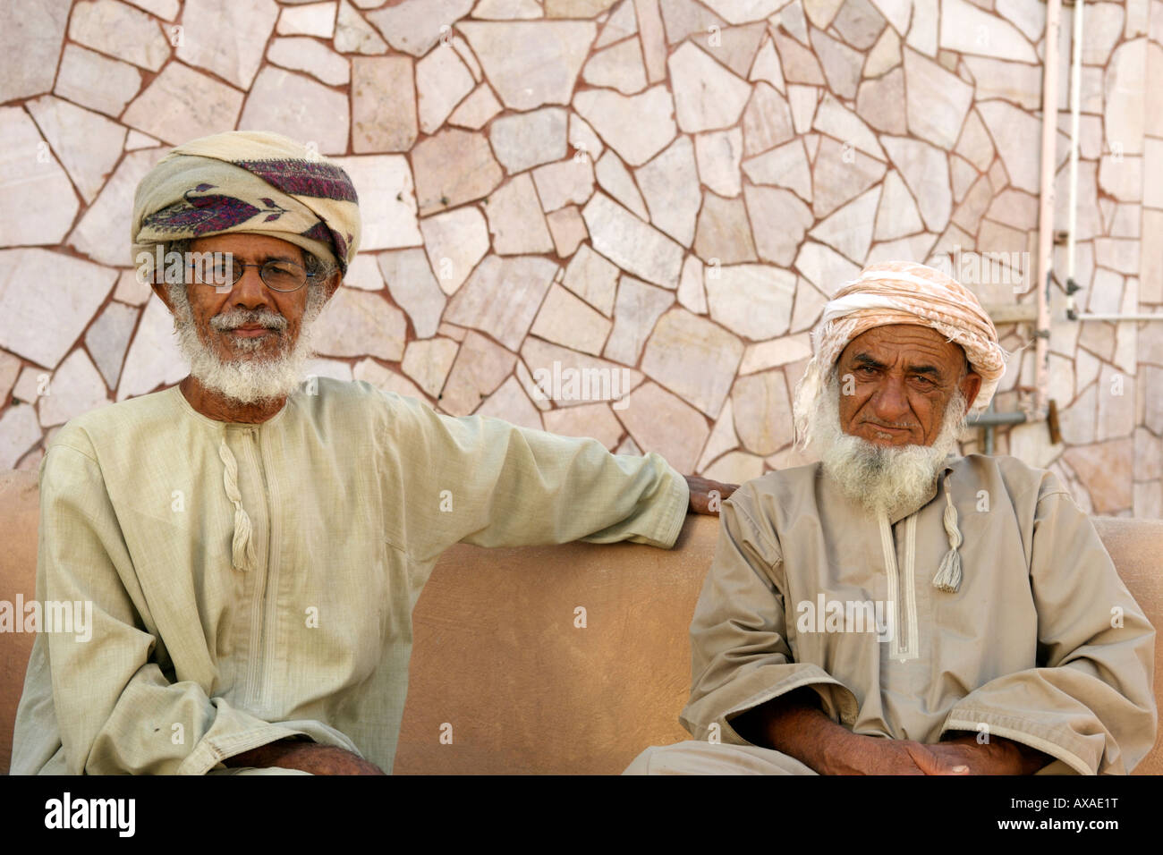 Potrait of two Omani men in Muscat, the capital of the Sultanate of Oman. - Stock Image